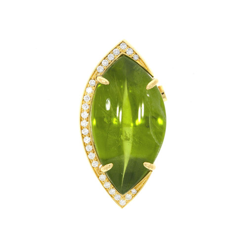 18K Yellow Gold Peridot Centerpiece Clasp with Diamond Accents