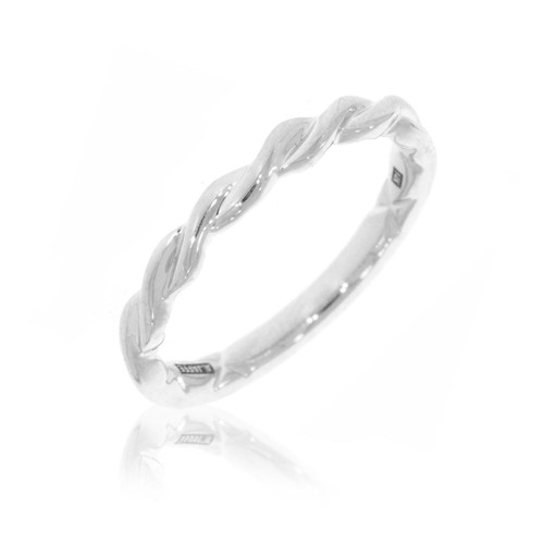 14K White Gold Twisted Wedding Ring