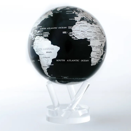 Black and Silver Globe with Acrylic Stand - 8.5 Inch