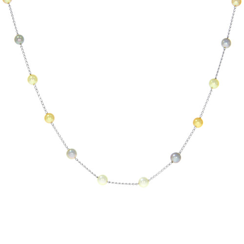 14K White Gold Multicolor Akoya Pearl Necklace
