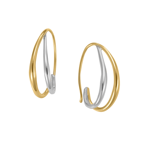 14K Yellow Gold And Sterling Silver Duo Hoop Earrings