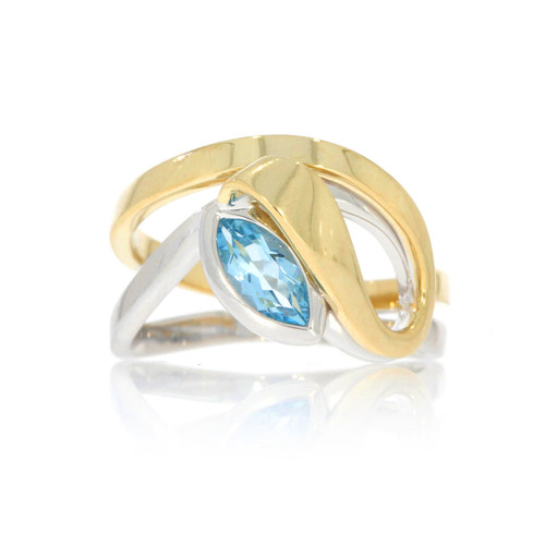 Sterling Silver With Yellow Gold Overlay Blue Topaz Split Free Form Ring