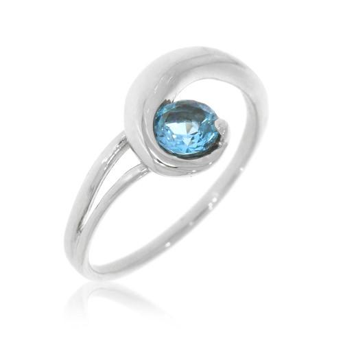 14K White Gold Blue Topaz Spiral Ring