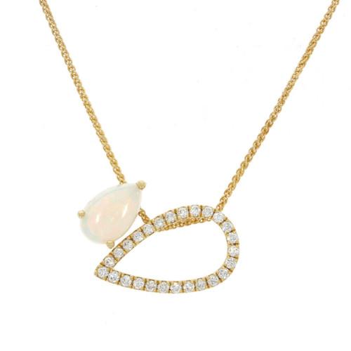 14K Yellow Gold Opal and Diamond Teardrop Double Pendant