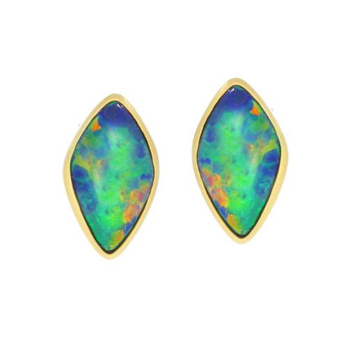 18K Yellow Gold Opal Doublet Stud Earring