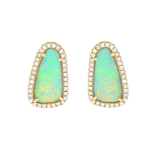 14K Yellow Gold Opal Earrings With Diamond Halo Accents