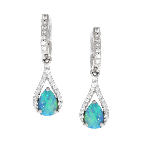 14K White Gold Opal and Diamond Teardrop Dangle Earrings