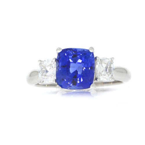 18K White Gold Blue Sapphire and Diamond Three Stone Ring