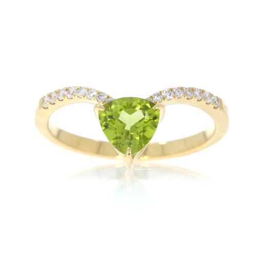 18K Yellow Gold Triangle Peridot V Ring With Diamond Accents