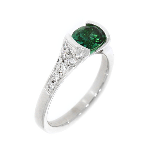 14K White Gold Open Bezel Set Oval Green Tourmaline Ring With Diamond Accents