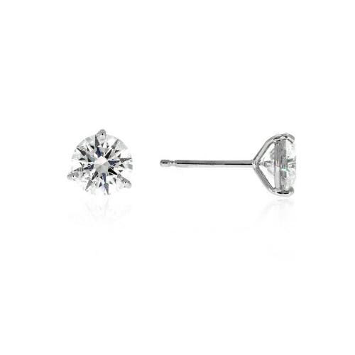 14K White Gold Diamond Solitaire Earrings - 0.53ctw