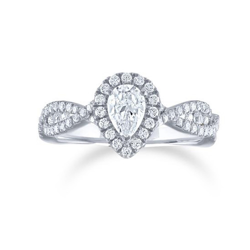 14K White Gold Pear Shape Center Diamond Engagement Ring With Diamond Halo and Twist Band