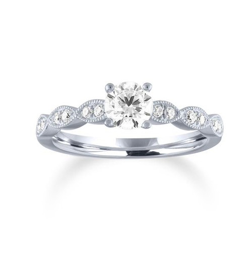 14K White Gold Round Center Diamond Engagement Ring With Vintage Motif Diamond Band