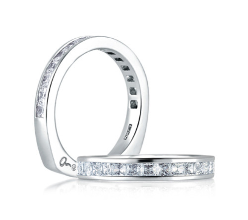 Platinum and Channel Set Diamond Wedding Ring
