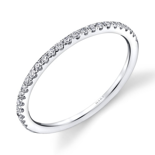 14K White Gold Delicate Wedding Ring With Diamond Accents