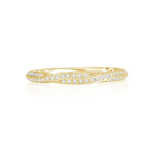 14K Yellow Gold and Diamond Twisted Wedding Ring