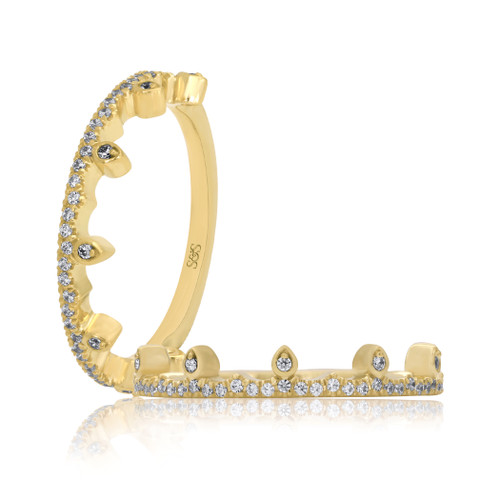 14K Yellow Gold Diamond Crown Stackable Wedding Ring