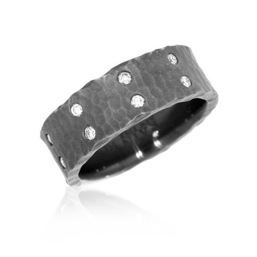 14K White Gold With Black Rhodium Overlay Hammered Wedding Ring With Diamond Accents