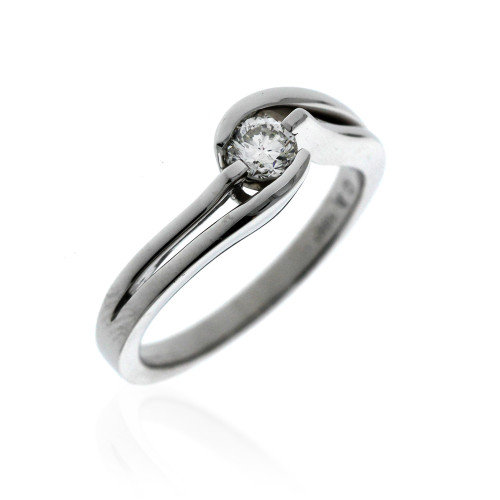 18K White Gold Bellisima Bypass Engagement Ring With 0.29ct Center Diamond