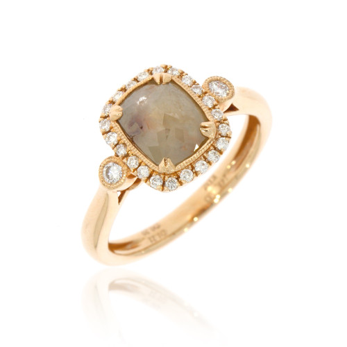 14K Rose Gold Barista Collection Rose-Cut Cinnamon Cushion Diamond Ring With Diamond Accents