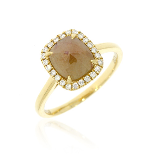 14K Yellow Gold Barista Collection Rose-Cut Chai Cushion Diamond Ring With Diamond Accents