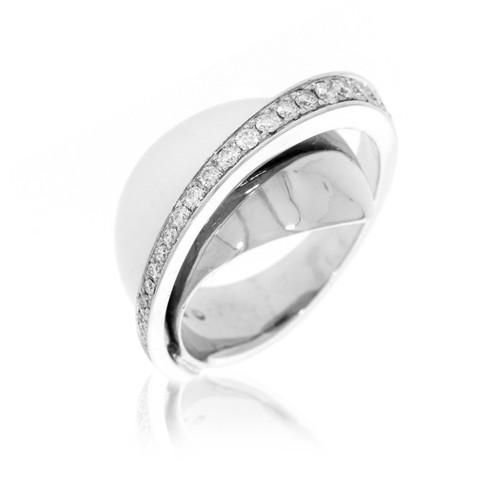 18K White Gold Domed Ring With Cascading Diamond Accents