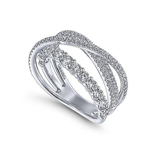 14K White Gold Diamond Layered Criss Cross Ring