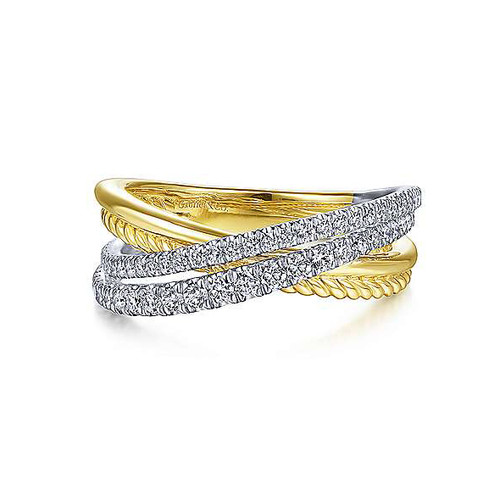 14K White and Yellow Gold Diamond Twisted Criss Cross Ring