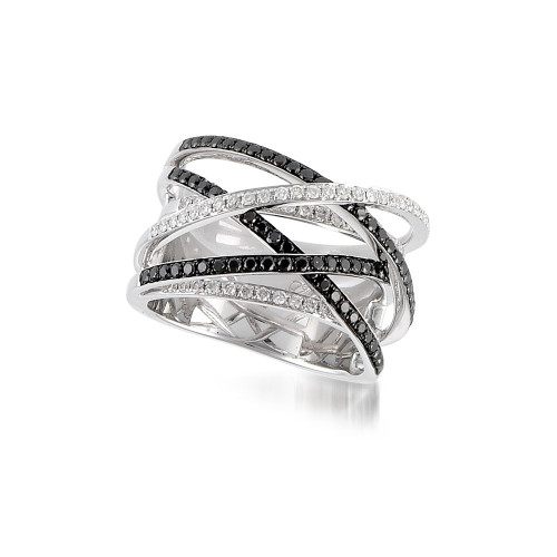 18K White Gold Criss Cross Ring with Black and White Diamonds