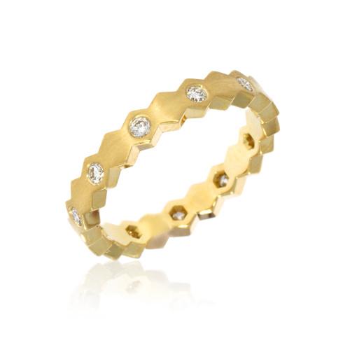 14K Yellow Gold Diamond Hexagon Ring
