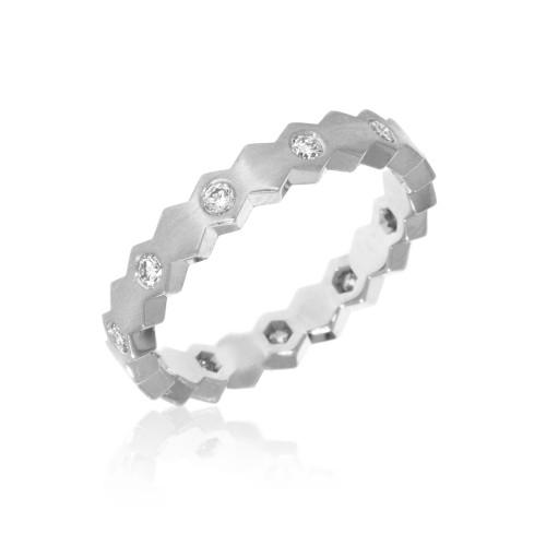 14K White Gold Diamond Hexagon Ring