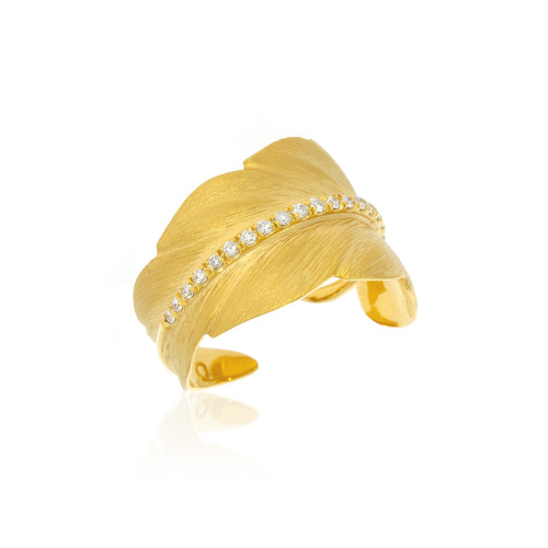 14K Yellow Gold Feather Cigar Ring With Diamond Accents