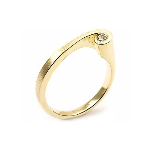 14K Yellow Gold Swirl Ring With Diamond Accent