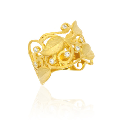 14K Yellow Gold Leaf and Swirl Cigar Ring With Diamond Accents
