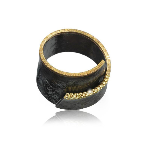 18K Yellow Gold and Oxidized Silver Ring With Natural Yellow Diamond Accents