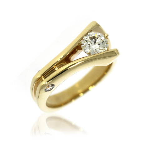 14K Yellow Gold Asymmetrical Ring With Diamond Accents