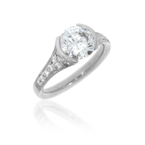 18K White Gold Micro Pavé Engagement Ring with Diamond Accents