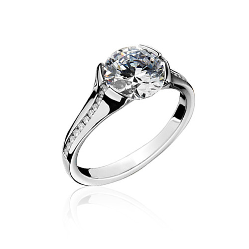 18K White Gold Contemporary Engagement Ring with Diamond Accents