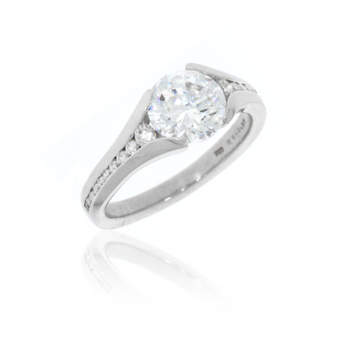 18K White Gold Split Engagement Ring with Diamond Accents