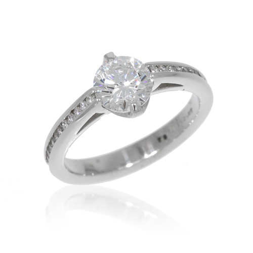 18K White Gold Engagement Ring with Channel Set Diamond Accents
