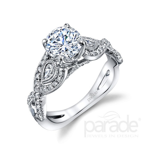 18K White Gold Solitaire Engagement Ring with Diamond Accents