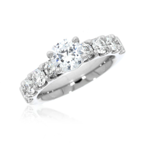 Platinum Solitaire Engagement Ring with Diamond Accents