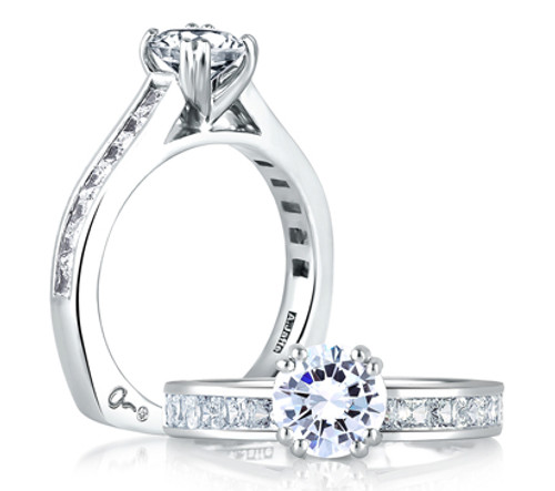 Platinum Cathedral Style Engagement Ring with Diamond Accents