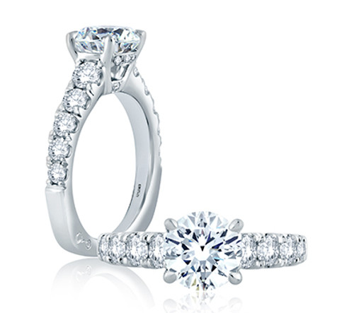 18K White Gold Cathedral Style Engagement Ring with Diamond Accents