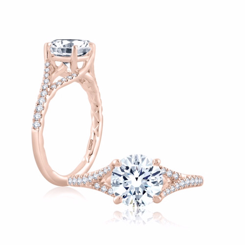 18K Rose Gold Cathedral Style Split Engagement Ring with Diamond Accents