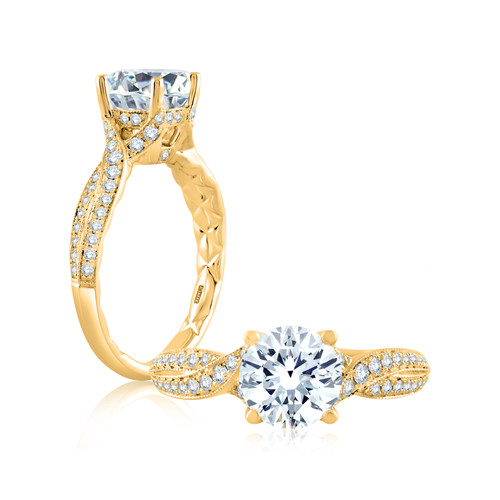 18K Yellow Gold Micro Pavé Twisted Engagement Ring with Diamond Accents