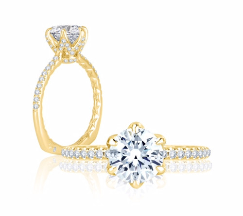 18K Yellow Gold Micro Pavé Engagement Ring with Diamond Accents