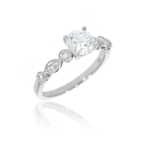 18K White Gold Milgrain Detail Diamond Engagement Ring