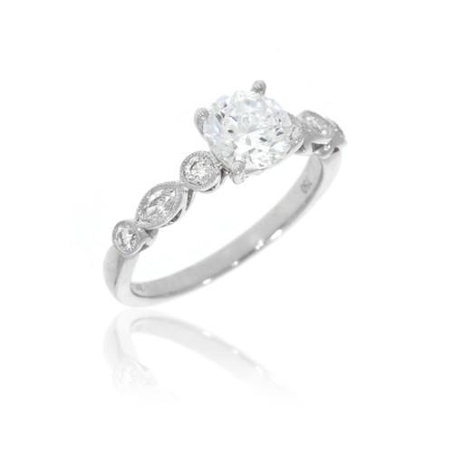 18K White Gold Milgrain Detail Diamond Engagement Ring