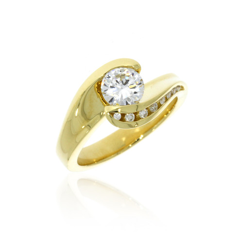 18K Yellow Gold Apropos Plus Bypass Engagement Ring For 1ct Center With Pave Set Diamond Accents